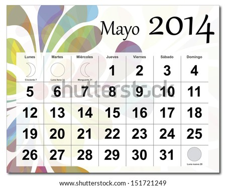 EPS10 vector file. Spanish version of May 2014 calendar. The EPS file includes the version in blue, green and black in different layers. Raster version available in my portfolio. - stock vector