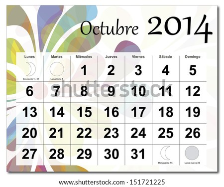 EPS10 vector file. Spanish version of October 2014 calendar. The EPS file includes the version in blue, green and black in different layers. Raster version available in my portfolio. - stock vector
