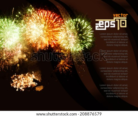 eps10 vector fireworks display concept background - stock vector