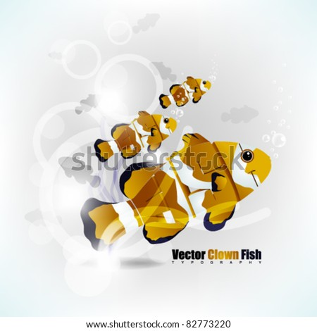 eps10 vector fish typography background illustration - stock vector