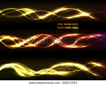 EPS10 vector flame line collection on black background for your design. Composition has three line groups, each has different look - stock vector