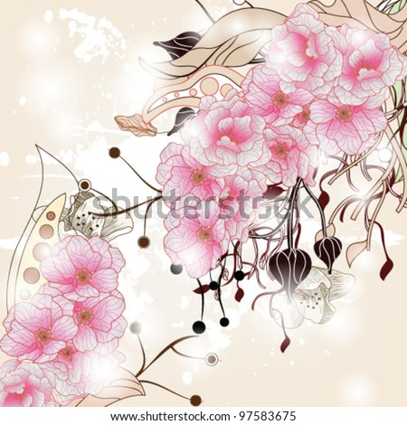 EPS 10 vector - floral background with cherry blossom branch, plants and space for text - stock vector