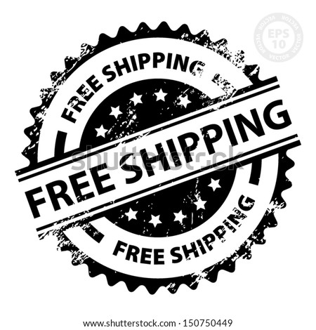 EPS10 Vector : Free Shipping Rubber Stamp with Grunge (Sticker, Tag, Icon, Symbol) - stock vector