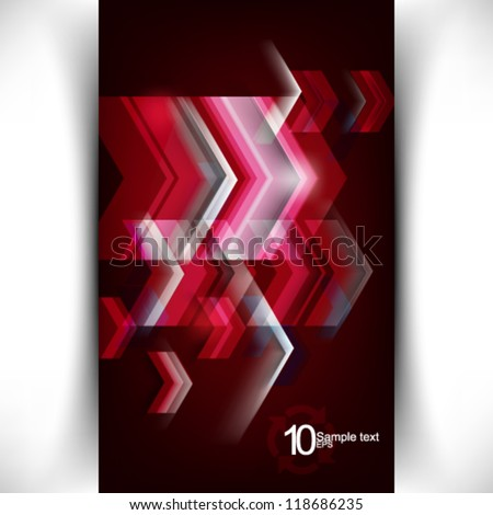 eps10 vector glowing abstract flowing arrows illustration - stock vector