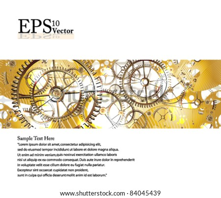 Eps10 Vector Golden Gears Concept Design - stock vector