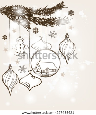 Eps10 vector - Hand drawn christmas postcard with space for text