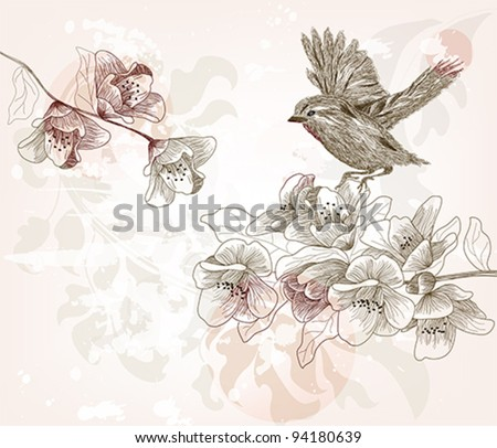 Eps 10 vector - hand drawn spring scene - layers separated -easily editable - stock vector