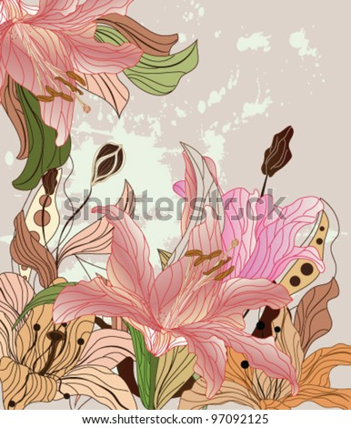 EPS 10 vector - hand drawn vintage lilies composition