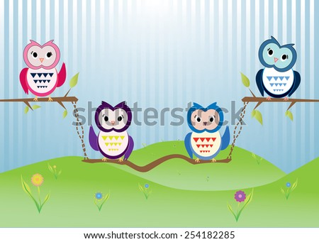 Eps 10 vector happy cute owls on tree branch in nature, light blue background and green grass, flowers. Funny colorful wallpaper, greeting card, postcard. Summer nature, animals, birds illustration.
