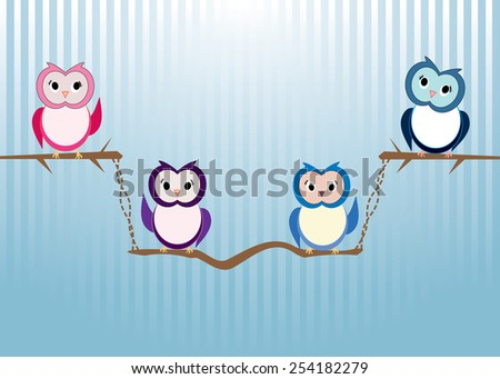 Eps 10 vector happy cute owls on tree branch on light blue background  with white stripes. Cute colorful wallpaper, background, postcard. Sweet birds animals, illustration. - stock vector