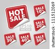 EPS10 Vector: Hot Sale Tags with sale 10 - 50 percent text on red square background - stock vector