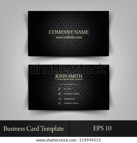 eps10 vector illustration abstract elegant metallic business card template - stock vector