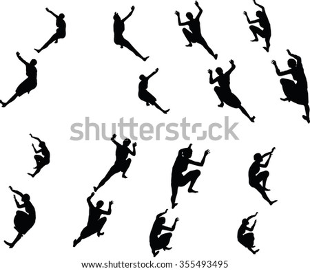 EPS 10 Vector illustration in silhouette of businesswoman climbing