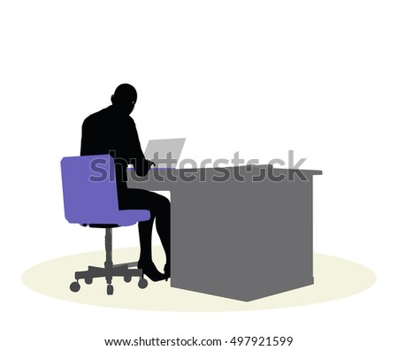 EPS 10 vector illustration of a business woman sitting at a desk