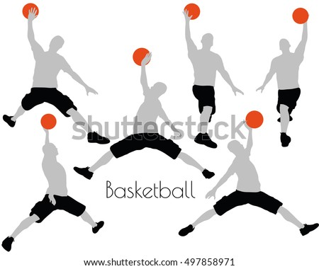 EPS 10 vector illustration of a man in Basketball pose on white background