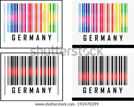 EPS 10 Vector Illustration of Barcode or Bar Code icon and red laser sensor beam over Germany - stock vector