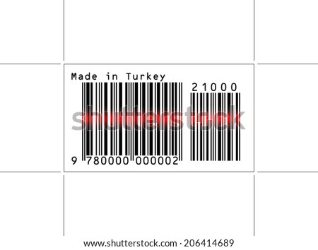 EPS 10 Vector Illustration of Barcode or Bar Code icon and red laser sensor beam over Made in Turkey