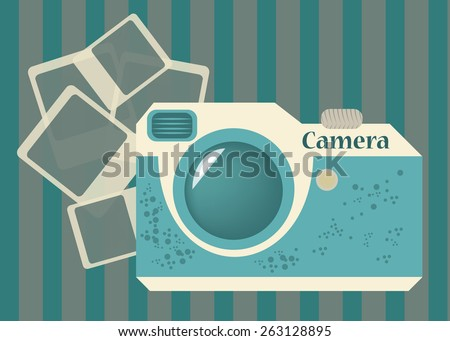 Eps 10 vector illustration of blue green old style, retro vintage photographic camera and instant photo, pictures isolated on striped purple background wallpaper. Immortalize precious moments concept - stock vector