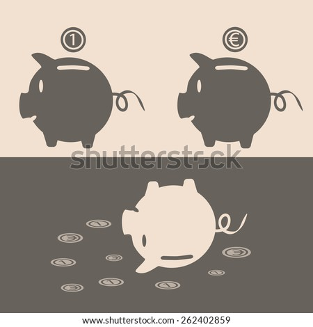 Eps 10 vector illustration of 2 brown piggy bank on pink background with euro, currency, conventional unit sign coins over it and one upside down pig. Crashing, going down money value, crisis concept. - stock vector