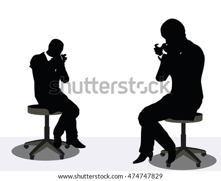 EPS 10 vector illustration of business man and woman silhouette on phone