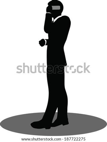 Detective Black Silhouette Man Gun Vector Stock Vector ...