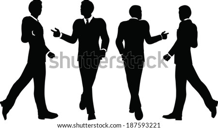 EPS 10 Vector illustration of business people walking with briefcase silhouette