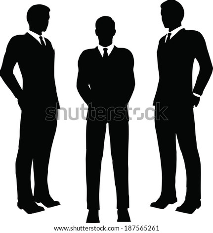 EPS 10 Vector illustration of business standing silhouette - stock vector
