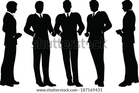 EPS 10 Vector illustration of business standing silhouette