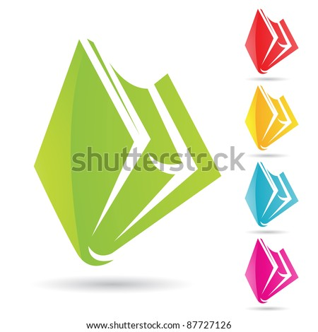 Eps Vector illustration of colorful book icons - stock vector