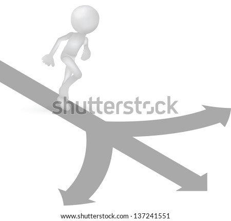 EPS 10 Vector Illustration of 3d human running with arrow direction ways