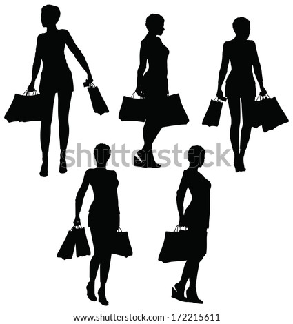 EPS 10 Vector Illustration of female hands holding a shopping bags - stock vector