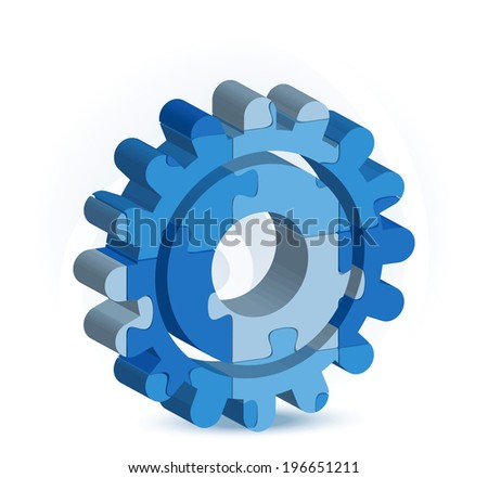 EPS 10 Vector Illustration of gear icon in puzzle