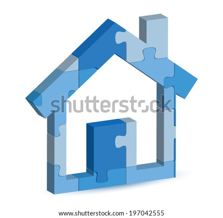 EPS 10 Vector Illustration of home icon in puzzle