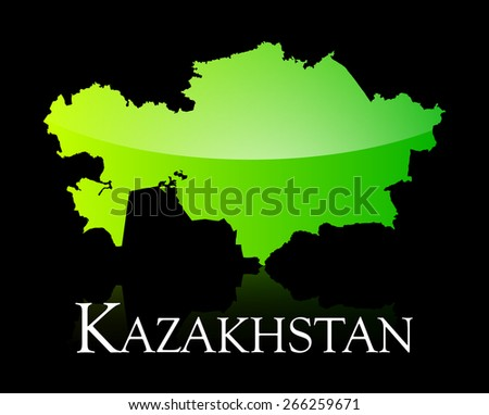 EPS 10 Vector illustration of Kazakhstan green shiny map. Used transparency. - stock vector