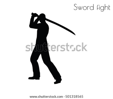 EPS 10 vector illustration of man in swordfight Action pose on white background