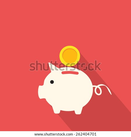 Eps10 vector illustration of pink piggy bank with golden coin Isolated on red background. Financial independence, wealth concept.  Business flat Icon of piggy with long shadows. Vector Pictogram.  - stock vector