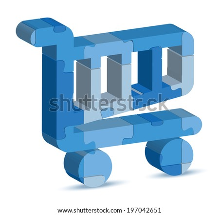 EPS 10 Vector Illustration of shopping cart icon in puzzle