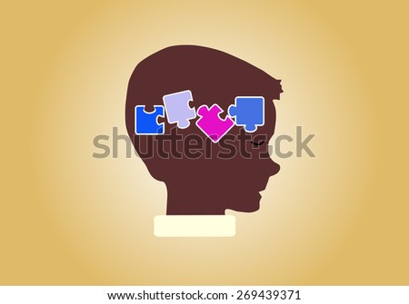 Eps 8 vector illustration of silhouette of boy, kid, child, person with puzzle in his head isolated on yellow background wall. Good decision, business idea, discovery, achievement, success concept. - stock vector