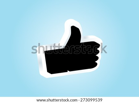Eps 8 vector illustration of simple flat black and white like us thumbs up hand pictogram button symbol icon sign logo for website application isolated on light blue background wall No transparencies - stock vector