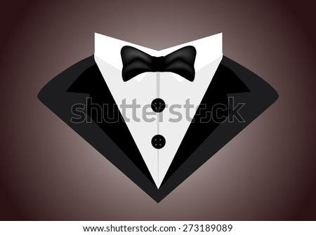 Eps8 vector illustration of stylized gentleman man in tuxedo icon isolated on dark brown background wall. Barber shop, men clothes suit store, wc restroom door logo template concept. No transparencies