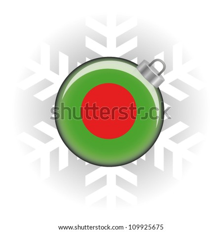 EPS10 Vector illustration of the Bangladesh flag in a bauble with snowflake in background - stock vector