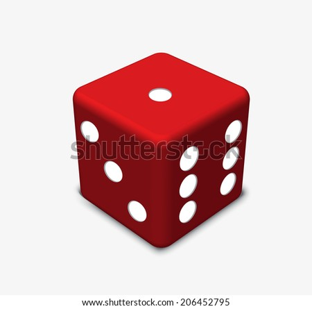 EPS 10 Vector Illustration - red dice isolated on wwhite background