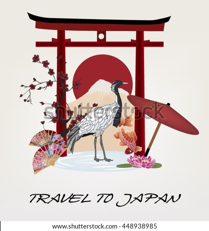 Eps10 vector - Illustration with different symbols of Japan - stock vector