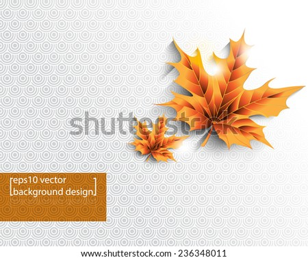 eps10 vector isolated Autumn leaves with round patterns Christmas background - stock vector