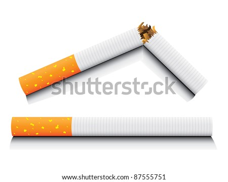 eps8 vector isolated normal and broken cigarette - detailed realistic illustration - stock vector