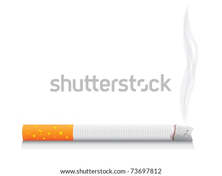 eps8 vector isolated smoking cigarette - detailed realistic illustration - stock vector