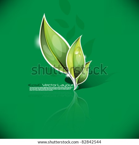 eps10 vector  leaf icon in green background design - stock vector