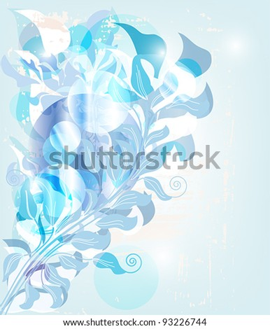 Eps 10 vector - light blue abstract background with baroque branches, light games and space for text - layers separated - easily editable - stock vector