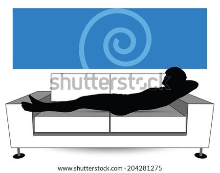 EPS Vector 10 - man silhouette on sofa - stock vector