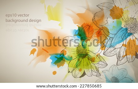 eps10 vector multicolor grunge vintage ink splatter with flower outline drawing background - stock vector